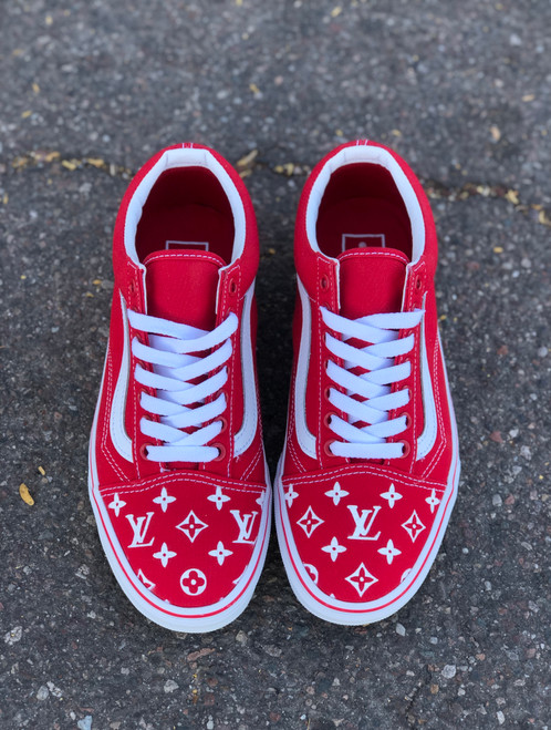 Red Canvas LV Old Skool Custom Vans