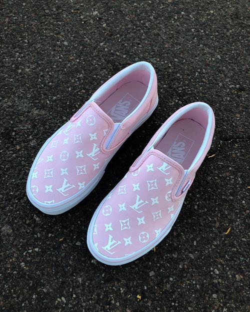 Pink LV Slip On Custom Vans