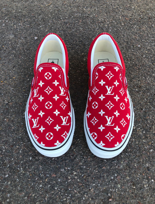 Red LV Slip On Custom Vans