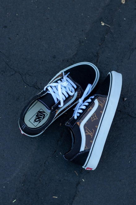 Brown Leather Canvas LV Old Skool Custom Vans
