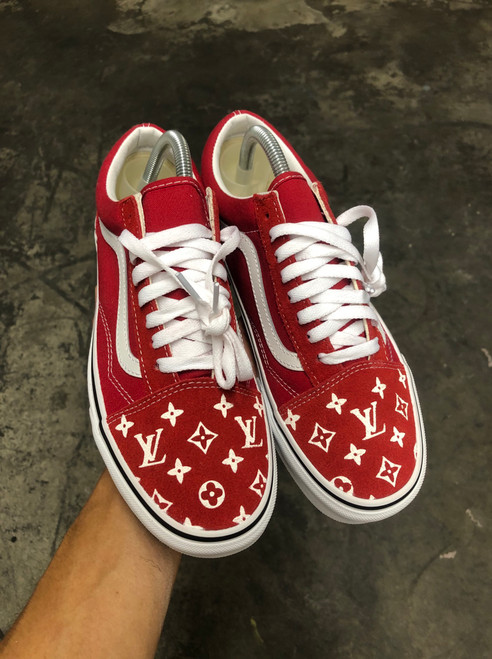 Red Suede LV Old Skool Custom Vans