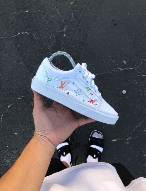 White Canvas Multi Color  Canvas LV Old Skool Custom Vans