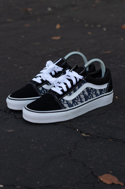 Navy DD Fabric Old Skool Custom Vans