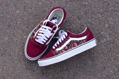 Maroon DD Fabric Old Skool Custom Vans