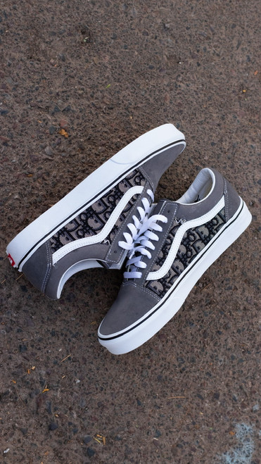 Grey DD Fabric Old Skool Custom Vans