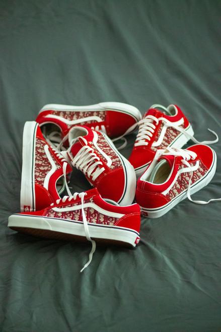 Red DD Fabric Old Skool Custom Vans