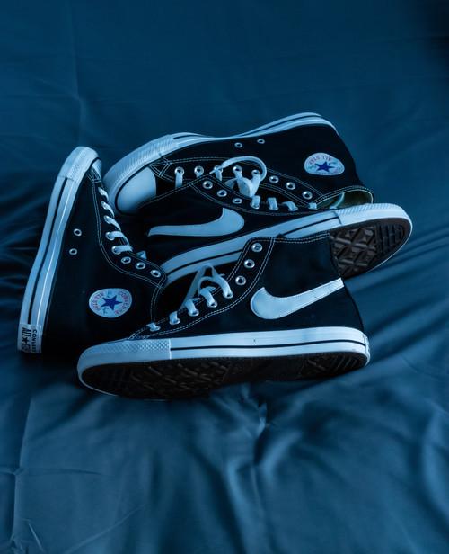 Black Converse Chuck Hi custom SWOOSH