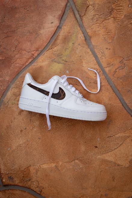Brown Canvas Swoosh Nike AF1 Low Custom