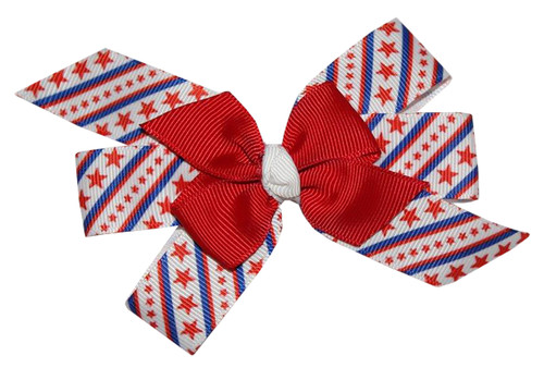 WD2U Girls Spiraling Red White & Blue Patriotic Hair Bow French Clip  Barrette US
