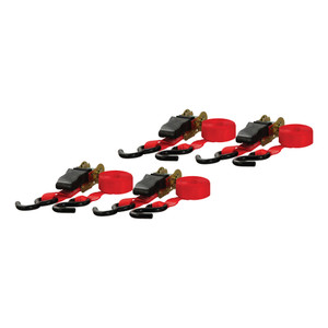 CURT 16' Red Cargo Straps with S-Hooks (500 lbs., 4-Pack) #83002