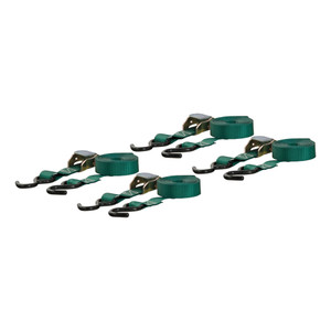 CURT 16' Dark Green Cargo Straps with S-Hooks (300 lbs., 4-Pack) #83016