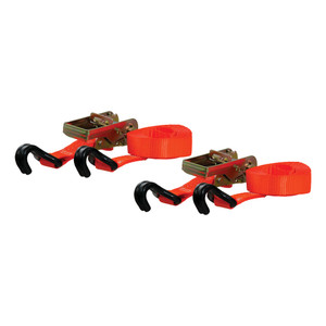 CURT 16' Orange Cargo Straps with J-Hooks (1,100 lbs., 2-Pack) #83026