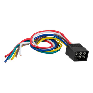 """CURT 6-Way Square Connector Plug with 12"""" Wires (Trailer Side, Packaged) #58037"""