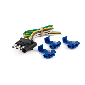 """CURT 4-Way Flat Connector Plug with 12"""" Wires and Hardware (Trailer Side, Packaged) #58033"""