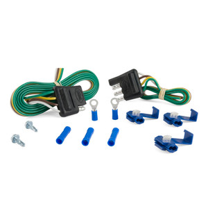 """CURT 4-Way Flat Connector Plug & Socket with 12"""" & 48"""" Wires & Hardware (Packaged) #58305"""