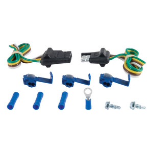 """CURT 4-Way Flat Connector Plug & Socket with 12"""" Wires Each & Hardware (Packaged) #58344"""