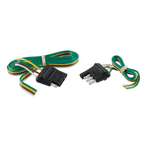 """CURT 4-Way Flat Connector Plug & Socket with 12"""" & 48"""" Wires (Packaged) #58355"""