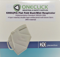 KN95 (P2) Flat Fold Dust/Mist Face Cover 20 Pack