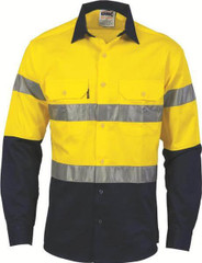 DNC HiVis Day/Night 2 Tone Drill Shirt with Generic Reflective Tape - Long Sleeve
