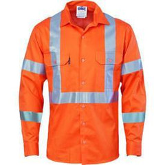 DNC HiVis Cool-Breeze Cotton Shirt Orange with Double Hoop on Arms & 'X' Back CSR Reflective Tape - Long Sleeve
