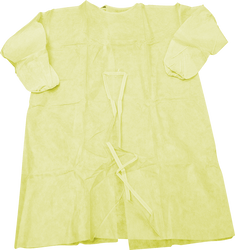 Splash Resistant Isolation Gown Yellow with Knitted Cuff - 10 Pack