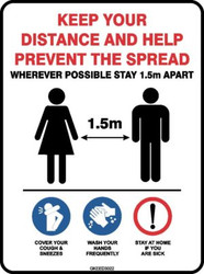 Sign - KEEP YOUR DISTANCE Social Distancing Rules 600mm x 450mm