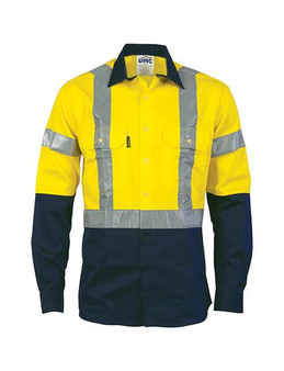 DNC HiVis Day/Night 2 Tone Drill Shirt with H Pattern Generic Reflective Tape - Long Sleeve