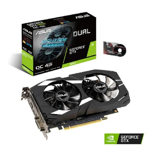 Asus NVIDIA GeForce GTX 1650 DUAL-GTX1650-O4G Overclocked Dual-fan Edition 4GB GDDR5 DVI/HDMI/DisplayPort PCI-Express Video Card