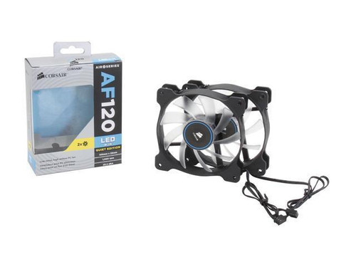 Corsair Air Series AF120 LED 120mm Quiet Edition High Airflow Fan Twin Pack - Blue (CO-9050016-BLED)