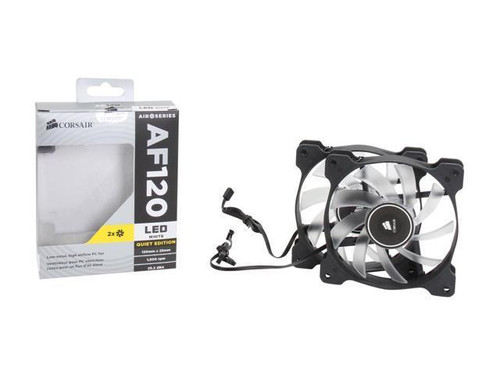 Corsair Air Series AF120 LED 120mm Quiet Edition High Airflow Fan Twin Pack - White (CO-9050016-WLED)