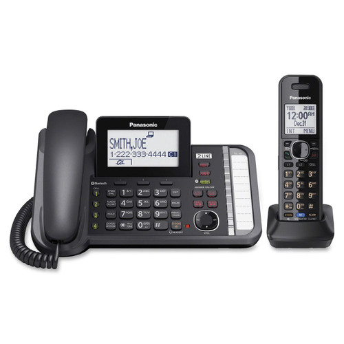 Panasonic Link2Cell KX-TG9581B DECT 6.0 Cordless Phone - 2 x Phone Lines - Black