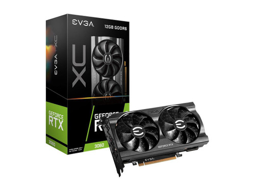 EVGA GeForce RTX 3060 XC GAMING 12G-P5-3657-KR 12GB GDDR6 Dual-Fan Graphics Card, Real Boost Clock: 1882 MHz; Memory Detail: 12288 MB GDDR6. Dual Fans Cooling offer higher performance cooling and much quieter acoustic noise.All-Metal Backplate.