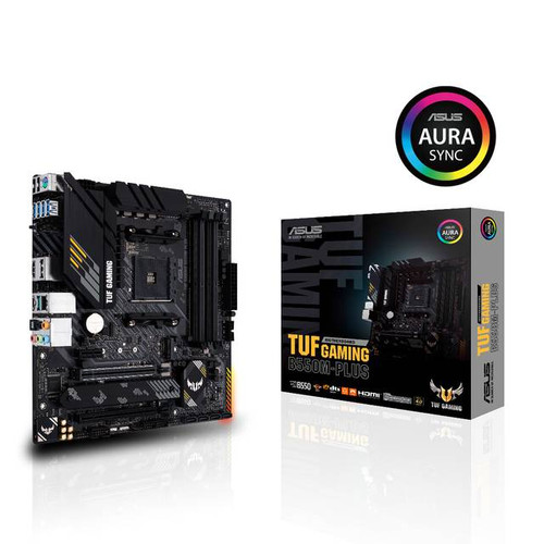 Asus TUF GAMING B550M-PLUS Desktop Motherboard - AMD Chipset - Socket AM4 - Micro ATX. TUF Gaming B550M-Plus distills essential elements of the latest AMD platform and combines them with game-ready features and proven durability. Engineered with military-grade components, an upgraded power solution and a comprehensive set of cooling options, this motherboard delivers rock-solid performance with unwavering gaming stability.