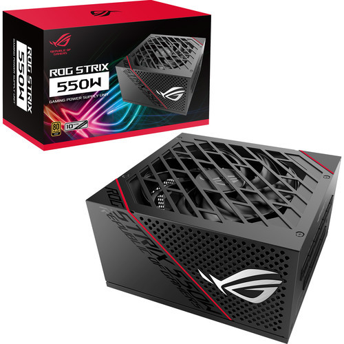ASUS ROG-STRIX-550G 550W 80 PLUS Gold ATX12V Power Supply.  Featuring 0 dB of noise at 40% TDP or lower. Featuring a single +12V design, this power supply includes two PCI-E connectors, two CPU connectors, eight SATA connectors, and three connectors for 4-pin or peripheral connections.