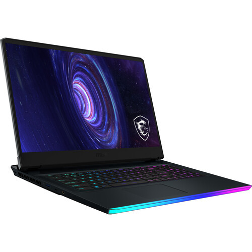 """The MSI 17.3"""" GE Series GE76 Raider Gaming Laptop combines both performance and aesthetics for gamers who want bit of flair thanks to keys that support customizable RGB lighting, which users can set to fit their style. It's equipped with a 10th Gen 2.2 GHz Intel Core i7-10870H eight-core processor, 32GB of DDR4 RAM, a 1TB NVMe PCIe M.2 SSD, and an NVIDIA GeForce RTX 3080 graphics card. These enable the system to quickly load applications, multitask efficiently, and play graphically demanding games. MSI has also paired the hardware with a 1080p Full HD 300 Hz IPS display. Connectivity options include USB Type-A and Type-C, HDMI, Mini DisplayPort, SD media cards, Gigabit LAN, Wi-Fi 6E, and Bluetooth 5.2. Other integrated features includes a webcam, microphones, speakers, and audio in/out jacks. Windows 10 Home (64-bit) is the installed operating system."""