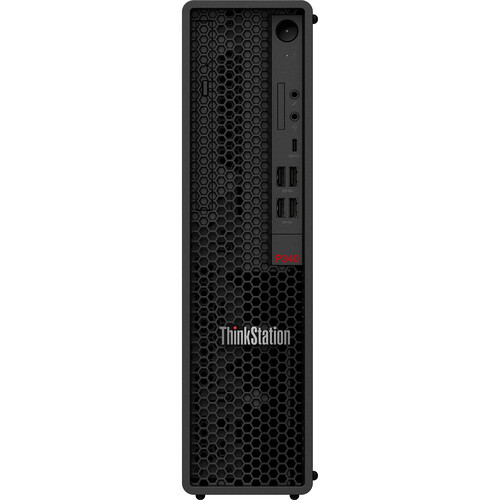 Lenovo ThinkStation P340 Streamline your business and increase productivity with the ThinkStation P340 Small Form Factor Desktop Computer from Lenovo. This compact design houses a 3.3 GHz Intel Xeon six-core CPU, 16GB 2933 MHz DDR4 RAM, and 512GB M.2 PCIe SSD, giving you the performance to run multiple spreadsheets and document processing applications. The NVIDIA Quadro P1000 allows a multi-display desktop setup, providing additional screen space for enhanced workflow. A DVD RW optical drive allows you to install important legacy software as well as print onto physical disk-based media for data saving needs.