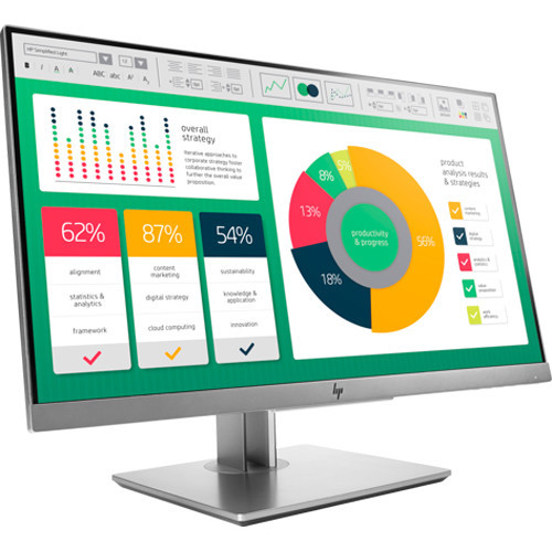 HP's EliteDisplay E223d features an HDMI 1.4 input, a DisplayPort 1.2 output, a USB 3.1 Gen 1 Type-C port with DP alt mode that provides up to 65W of power for connected devices, a powered USB 3.1 Gen 1 Type-A port that provides up to 7.5W, two non-powered USB 3.1 Gen 1 Type-A ports, a USB 3.1 Gen Type-B port, a 3.5mm audio input, and a 3.5mm audio output. It also features an anti-glare panel with In-Plane Switching (IPS) technology, a native resolution of 1920 x 1080 at 60 Hz, support for 16.7 million colors (6-bits + A-FRC), coverage for 94% of the sRGB and 72% of the NTSC color gamuts, a widescreen 16:9 aspect ratio, a static contrast ratio of 1000:1, a dynamic contrast ratio of 5,000,000:1, 250 cd/m2 brightness, 102 ppi, a 5 ms (GtG) response time, and a backlight lifespan of 30,000 hours. Using the 178° horizontal and vertical viewing angles, it is possible to watch content from virtually any position. To further help improve viewing and accessibility, the display features a vertical tilt of -5 to 23°.