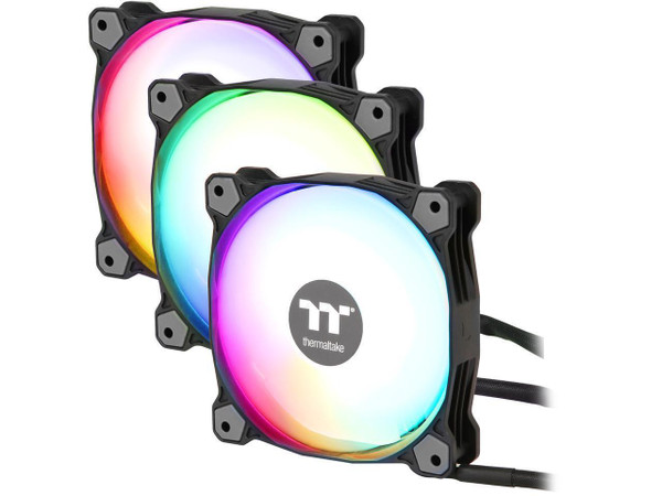 Thermaltake Pure Plus 12 RGB TT Premium Edition 120mm Software Enabled Circular 9 Controllable LEDs PWM Case/Radiator Fan - Triple Pack - CL-F063-PL12SW-A