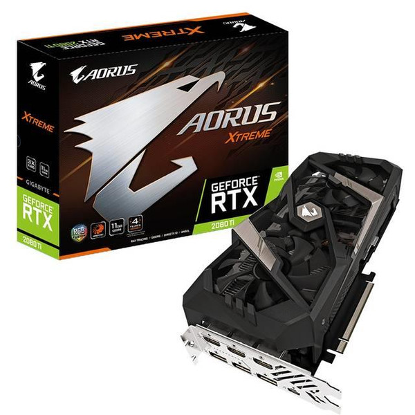 GIGABYTE AORUS GV-N208TAORUS X-11GC NVIDIA GeForce RTX 2080 Ti XTREME 11G GDDR6 3HDMI/3DisplayPort/USB Type-C PCI-Express Video Card
