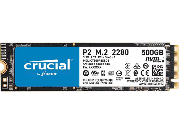 Crucial P2 CT500P2SSD8 500 GB Solid State Drive - M.2 2280 Internal - PCI Express NVMe (PCI Express NVMe 3.0 x4)