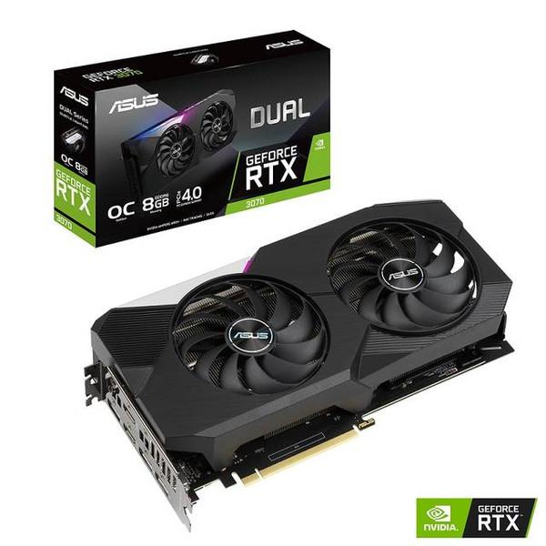 ASUS NVIDIA GeForce RTX 3070 OC DUAL-RTX3070-O8G Edition 8GB GDDR6 2HDMI/3DisplayPort PCI-Express 4.0 Video Card