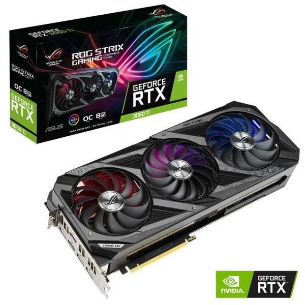 ASUS ROG Strix RTX 3060 Ti ROG-STRIX-RTX3060TI-O8G-GAMING OC Edition 8GB GDDR6 2HDMI/3DisplayPort PCI-Express 4.0 Gaming Video Card