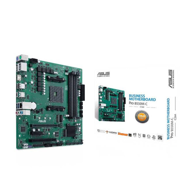 Asus PRO B550M-C/CSM Desktop Motherboard - AMD Chipset - Ready for Ryzen™ 5000 Series/ 4000 G-Series/ 3000 Series Desktop Processors - Dual M.2, PCIe 4.0, 1 Gb Ethernet, USB 3.2 Gen 2 Type-C