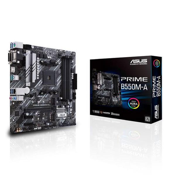 Asus Prime B550M-A/CSM Desktop Motherboard - AMD Chipset - Ready for 3rd Gen AMD Ryzen™ Processors - VRM heatsink, PCH heatsink, and Fan Xpert 2+ - Dual M.2, PCIe 4.0, 1 Gb Ethernet, USB 3.2 Gen 2 Type-A -