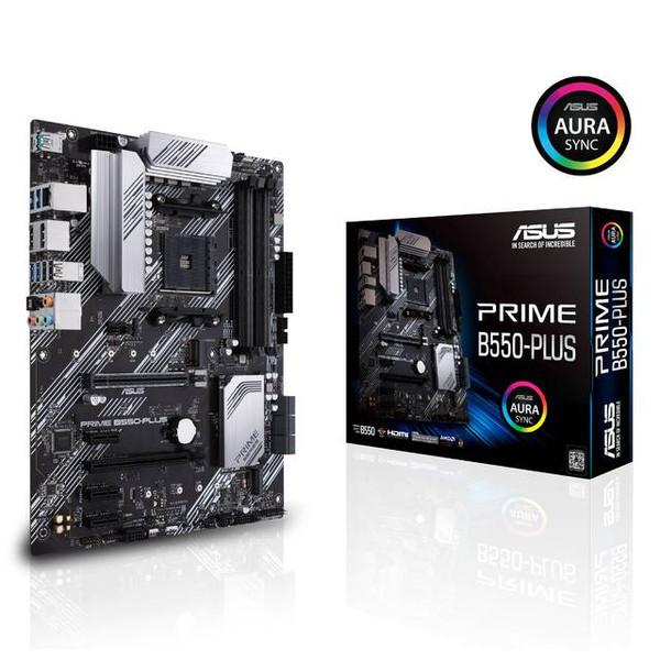 Asus Prime B550-PLUS Desktop Motherboard - AMD Chipset -  Ready for 3rd Gen AMD Ryzen™ Processors - Dual M.2, PCIe 4.0, 1 Gb Ethernet, USB 3.2 Gen 2 Type-A and Type-C - VRM heatsinks, PCH heatsink, and Fan Xpert 4
