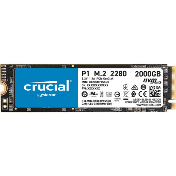 Crucial P1 CT2000P1SSD8 2 TB Solid State Drive - M.2 2280 Internal - PCI Express NVMe - Securely load and store up to 2TB of important files on Micron® NAND in a tiny M.2 form factor.