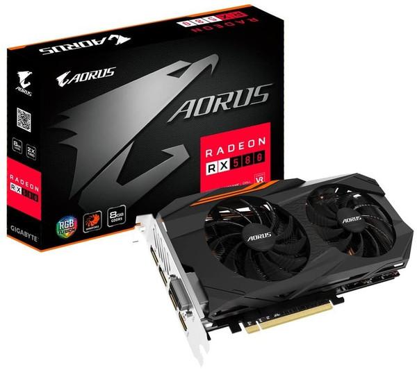 Gigabyte GV-RX580AORUS-8GD AORUS Radeon RX 580 8GB GDDR5 PCI Express DVI/HDMI/3xDisplay Port Retail