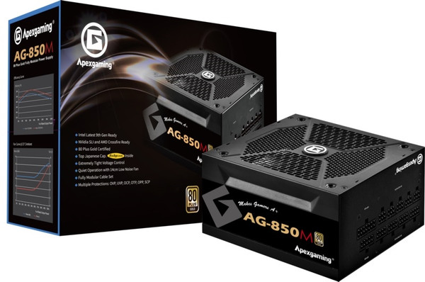 APEX Power Supply AG-850M Apex gaming AG Series 850 Watts 80+ Gold Fully Modular