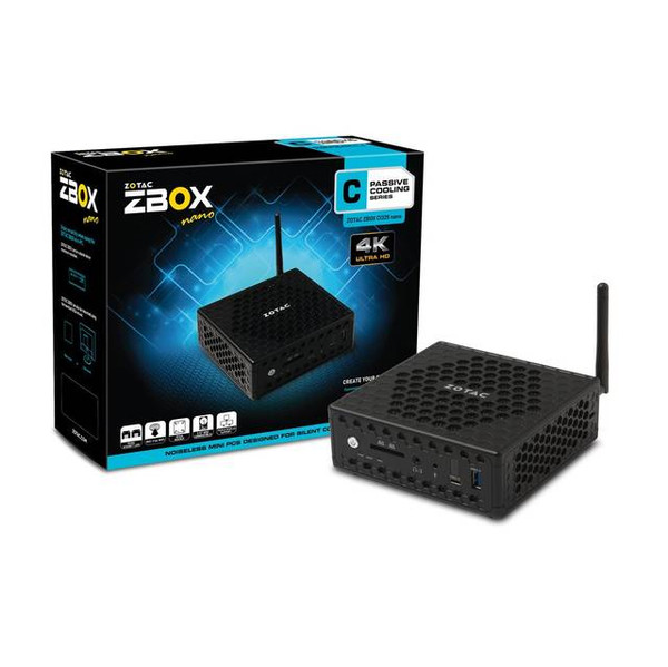 ZOTAC ZBOX C Series ZBOX-CI325NANO-U Nano Passive Cooled Silent Mini PC Intel N3160 Quad-core Intel HD Graphics HDMI VGA DisplayPort No Memory/Storage/OS Barebones System