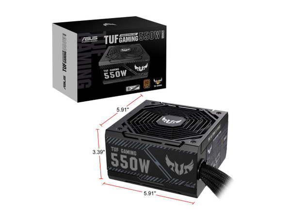 ASUS TUF GAMING 550B 550W 80 PLUS Bronze ATX12V Power Supply. Military-grade Certification: All critical capacitors and chokes pass demanding tests to achieve Military-grade Certification. Axial-tech fan design features a smaller fan hub that facilitates longer blades and a barrier ring that increases downward air pressure. Dual ball fan bearings can last up to twice as long as sleeve bearing designs. 0dB Technology lets you enjoy light gaming in relative silence. An 80 Plus Bronze Certification is earned with high-quality components that pass rigorous testing. 80cm 8-pin CPU connector (EPS 12V). 6-year warranty included.